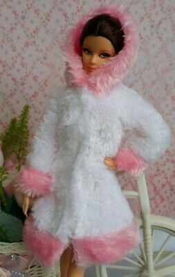 New Handmade White & Pink Trim For Barbie Fur Coat Faux Fur Coat Jacket