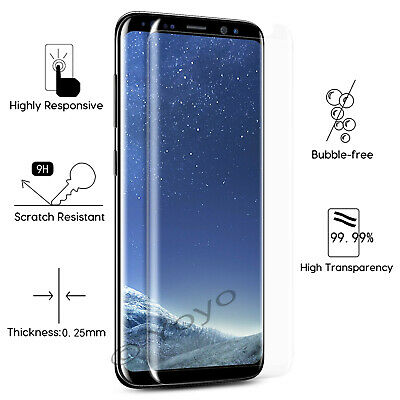 Screen Protector For SAMSUNG Galaxy S8 TEMPERED GLASS Cover - 100% CLEAR