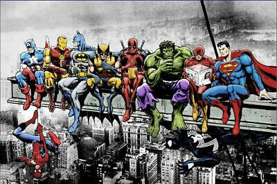 SUPER HEROES LUNCH ON A SKYSCRAPER POSTER, size 24x36