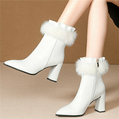 Women Cow Leather Pointed Toe Snow Boots Rabbit Fur Winter High Heel Pumps Shoes
