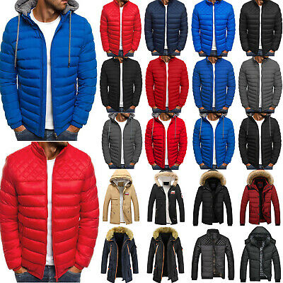Men Hooded Jacket Puffer Padded Bubble Coat Zip Quilted Parka Overcoat Outwear