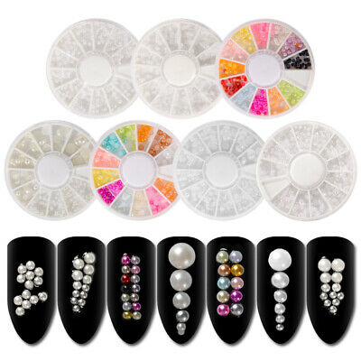 3D White Nail Art Tips Pearl Acrylic Gem Glitter DIY Manicure Decoration Tips