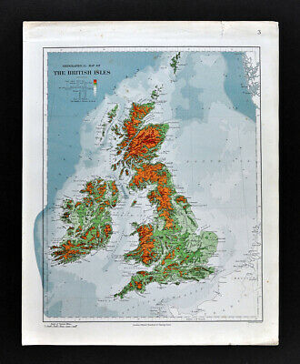1885 Stanford Physical Map British Isles England Wales Scotland Ireland Antique