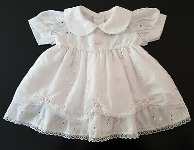 VINTAGE 1970's FRILLED BABY / REBORN DOLL'S DRESS WHITE BRODERIE ANGLAISE