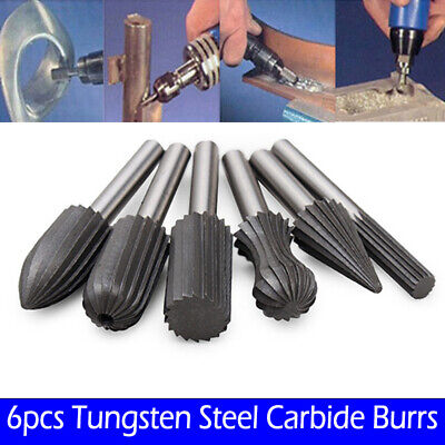 6X Tungsten Steel Carbide Burrs For Rotary Drill Bit Die Grinder 6mm Shank NEW