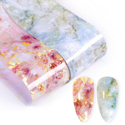 Candy Marble Nail Foils Pink Blue Glitter Foil Nail Art Transfers Stickers Decal