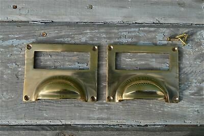 Pair Of Large Solid Brass Antique Style Filing Cabinet Handle Drawer Label Cr5