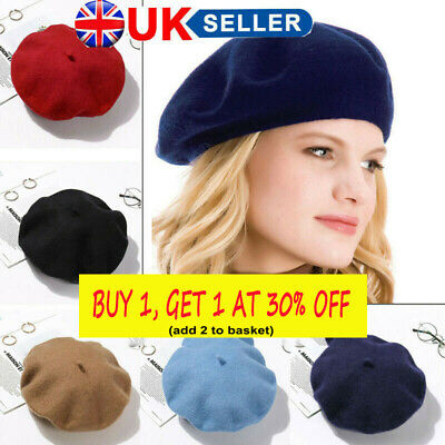Women Girls Autumn Wool French Beret Cap Felt Berets Winter Warm Beanie Baggy