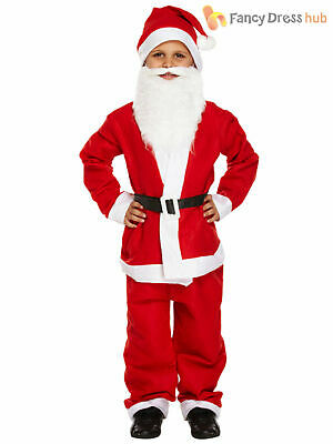 Kids Santa Claus Suit + Beard Father Christmas Fancy Dress Boys Costume Xmas