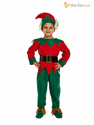Kids Elf Costume, Hat + Shoes Boys Santas Helper Christmas Fancy Dress Childs