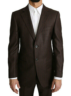 Z ZEGNA Suit Two Piece 2 Button Wool Brown Red Striped EU50/ US40 / L RRP $1700