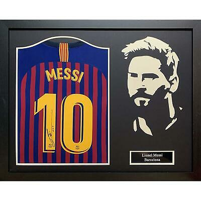 Lionel Messi Autographed Barcelona 2018/19 Silhouette Framed Football Shirt