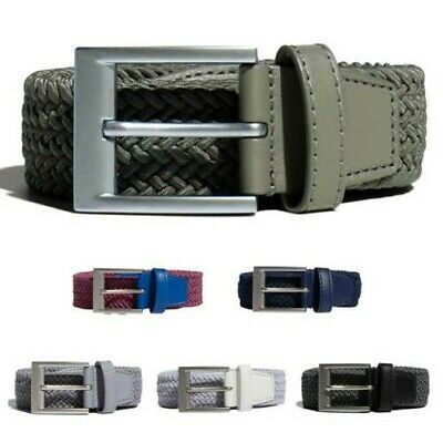 adidas Mens Braided Stretch Woven Pin Metal Buckle Sport Golf Leather Belt