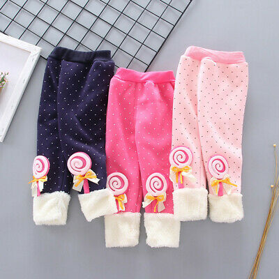 Toddler Baby Girls Dot Candy Thick Warm Pants Trousers Legging Clothes UK