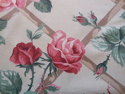 Antique Vintage Shabby Cottage Roses Trellis Cotton Fabric ~ Red Pink Green