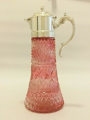 Rare Antique Cranberry Tinted Diamond Cut Glass Large Claret Jug