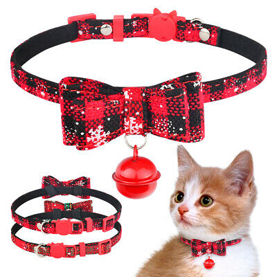 Xmas Breakaway Cat Kitten Collar with Bow Tie Bell Safety Quick Release Collars