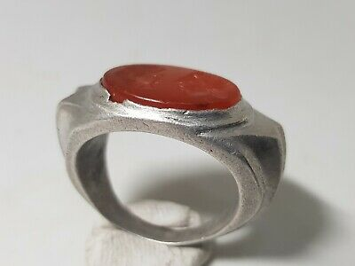 ROMAN SILVER  RING WITH LARGE INTAGLIO  1st Century AD