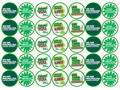 Charity Macmillan Cancer Support Precut Edible Cupcakes Topper Rice Many Sizes
