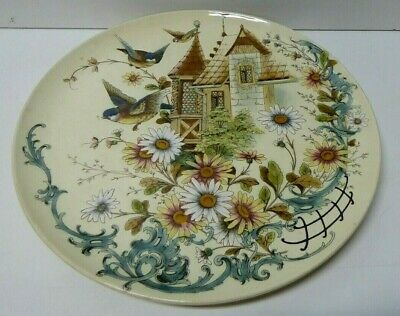 Large Wall Charger Hand Painted Majolica Birds Daisy Flowers England Pottery