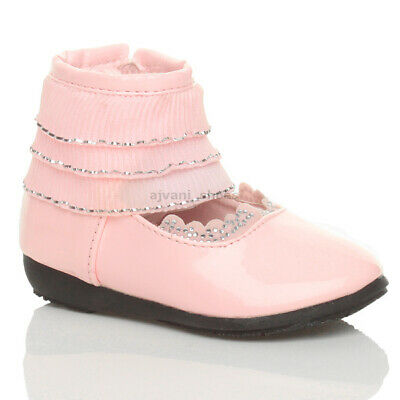 Girls Kids Childrens Flat Low Heel Frill Ruffle Ankle Cuff Zip Shoes Size 3