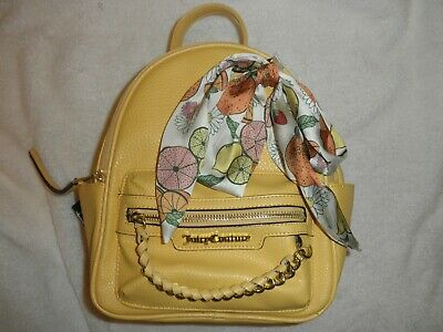 NWT Juicy Couture Citrus Bow Small Backpack with logo straps color Buttercup