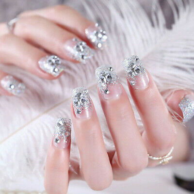 24Pcs Silver White False Nails With Gel Full Cover Wedding Fake Nail Tips Newest