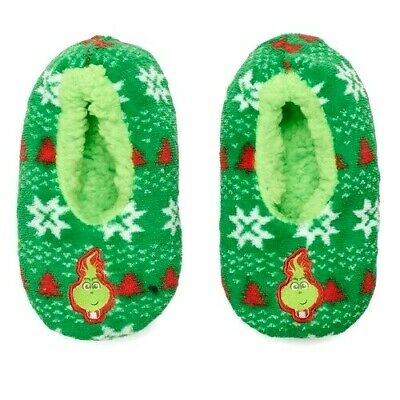 THE GRINCH Sz L 13-4 BABBA Slipper Socks Girls Or Boys CHRISTMAS