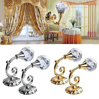 2x Metal Crystal Curtain Holdback Wall Tie Backs Hooks Hanger Holder Room Decors