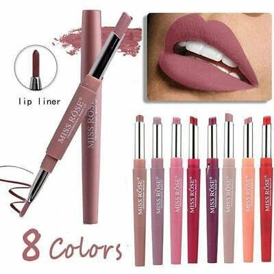 Miss Rose Waterproof Dual Pencil Lipstick Pen Matte Lip Liner LongLasting Makeup