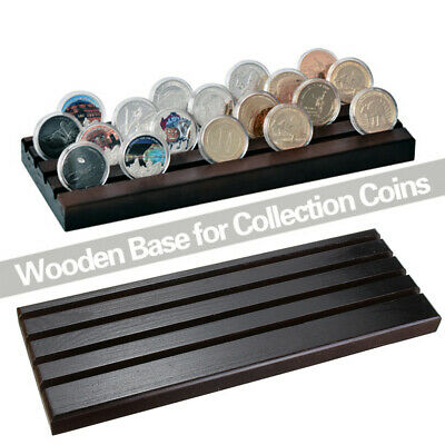 UK 4-Row Wooden Challenge Coin Display Stand Coin Collector Holder Case Rack