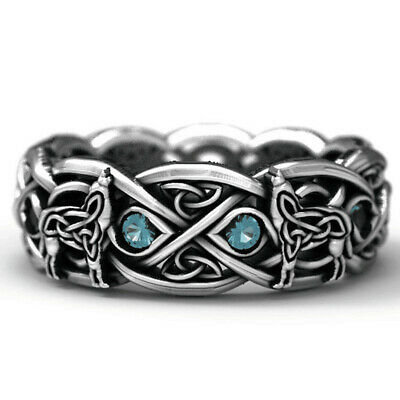 Men's Gothic Celtic Wolf Ring Eternity Band Sapphire Wedding Jewelry Rings Gift