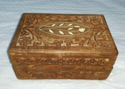 Vintage Hand Carved Indian Jewelry Box Wooden Hinge Inlay Dresser Decor