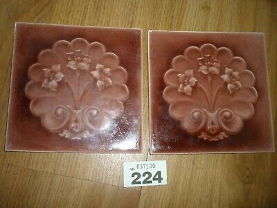 Victorian Tile Shell /  Floral Design X 2
