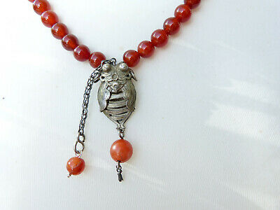 Antique Chinese Silver Bat Pendant Carnelian Necklace, OOAK, Chinese Amulet