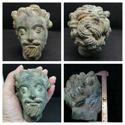 SCARCE ANCIENT ROMAN BRONZE STATUE FRAGMENT HEAD OF MALE BIBLICAL FIGURE.bronze