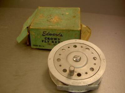 antique VINTAGE OLD CROWN 60 FLY FISHING REEL EDWARDS MFG CO CHICAGO 4 ROD LURE