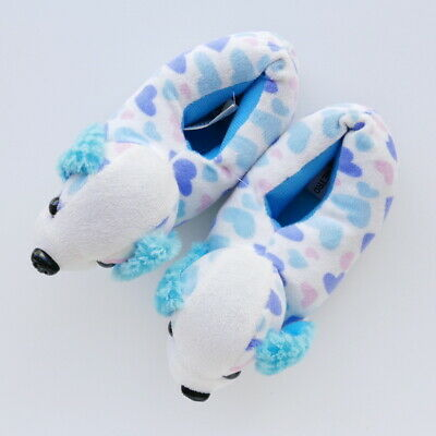Girls Puppy Dog White Blue Velour Slippers Fabric Ears Hearts Size 9-9.5 Kids
