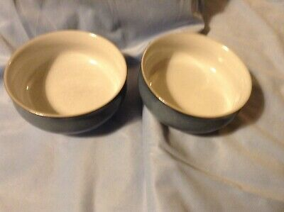 "2 DENBY CASTILE 5 7/8"" CEREAL SOUP BOWLS England GOOD CONDITION Hand painted"