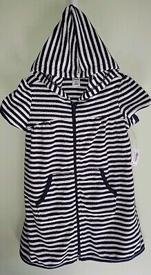 Old Navy Girls 2T Short Sleeve Hooded Swim Coverup NAVY BLUE Beach Pool #48019