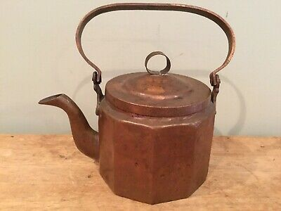 Antique Hand Forged Hand Made Heavy Copper Tea Pot Kettle Tin Lined