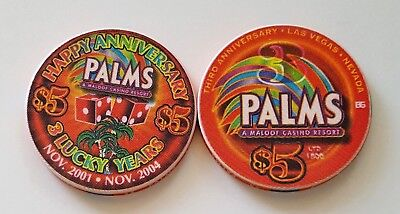 $5 Las Vegas Palms 3 Lucky Years Casino Chip - Uncirculated