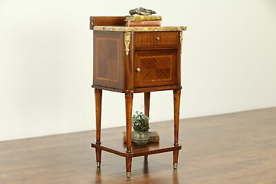 French Antique Tulipwood Banding Mahogany Nightstand, Marble Top #32234