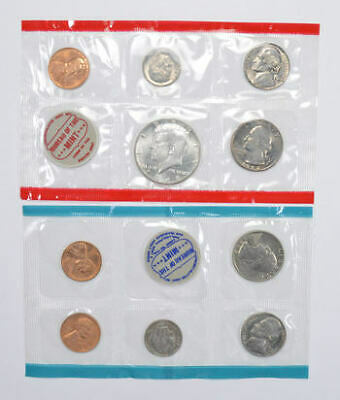 1964 SILVER US Mint Uncirculated 10 Coin Set BU P and D Cello Sleeve Envelope