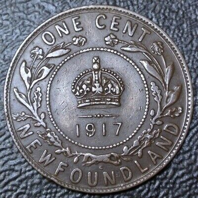 OLD CANADIAN COIN 1917 NEWFOUNDLAND - ONE CENT - BRONZE - George V