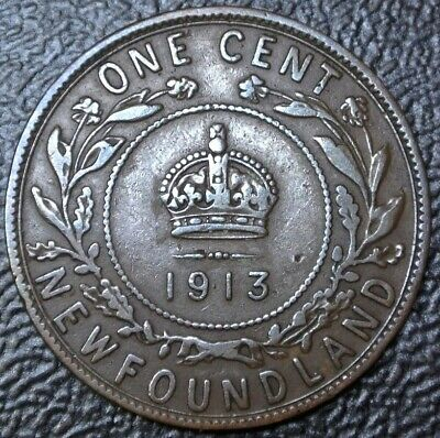 OLD CANADIAN COIN 1913 NEWFOUNDLAND - ONE CENT - BRONZE - George V