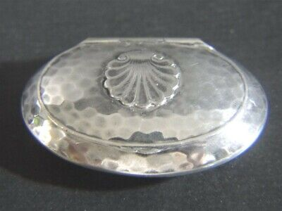 Vintage Danish HJ Hammered Silver Plate Shell Design PILL BOX