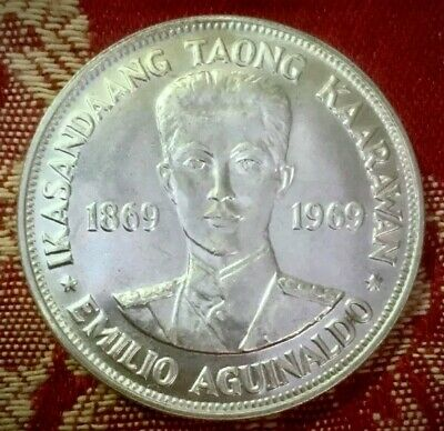 1969 Philippines 🇵🇭 Aguinaldo Commemorative 1 Piso Coin. 90% Silver.
