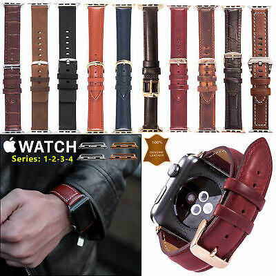 Genuine Leather Strap Apple Watch Band iWatch Series 5 4 3 2 1 / 38 40 42 44mm