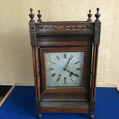 Musical mahogany triple train on eight bells mantel clock